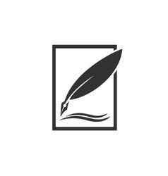 feather pen logo designs vector image