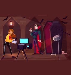 filming movie about vampire cartoon concept vector image