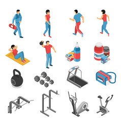 Fitness health isometric icons set vector