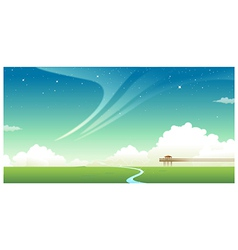 Green landscape with jetty vector image