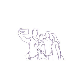 group of sketch people taking self portrait photo vector image