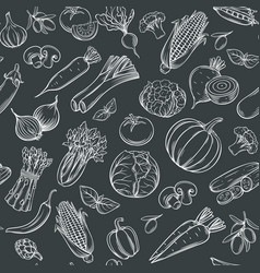 Hand drawn vegetables seamless pattern vector
