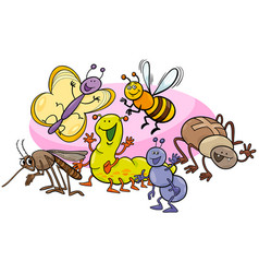 Happy insects cartoon characters group vector