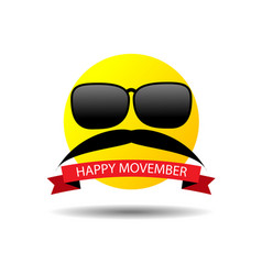 Happy movember smiley vector
