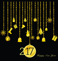 Happy new year 2017 gold on black vector