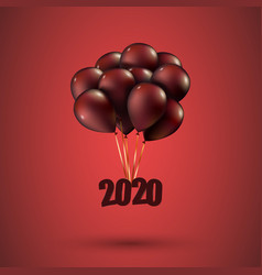 Happy new year 2020 flies on red balloons 3d vector