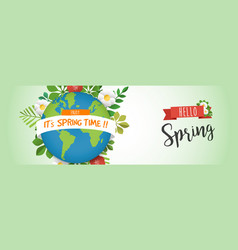 Hello spring web banner with green earth planet vector