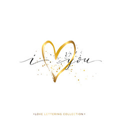 i love you text with gold heart and splashes vector image