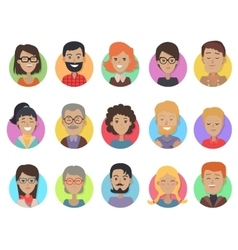 Icons set with smiling people of different age vector
