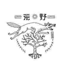 Japanese wolf with hieroglyphs asian animal vector