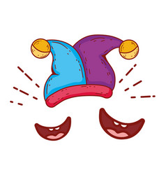 joker hat and smiles fools day accessory vector image
