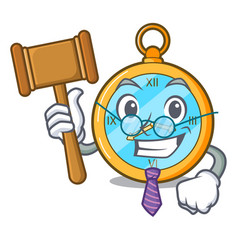 Judge gold vintage clock with picture cartoon vector