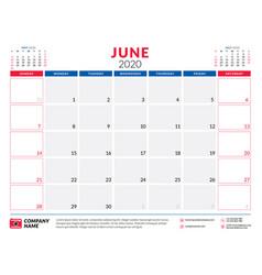 June 2020 calendar planner stationery design vector