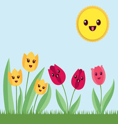 Kawaii flowers garden vector