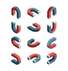 magnet isometric iron items with magnetism vector image