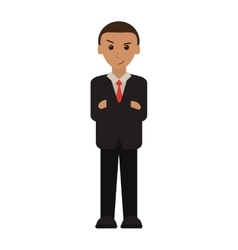 Man business crossed arms suit necktie vector