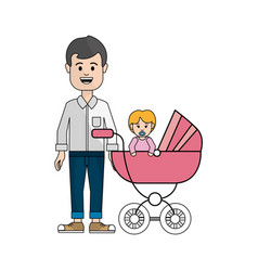 man happy and his baby icon vector image