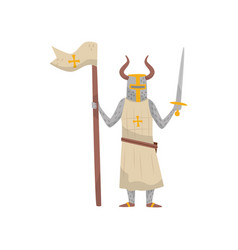 medieval templar armored knight warrior character vector image