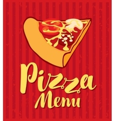 Menu with slice of pizza vector image