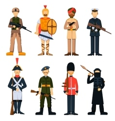 Military soldiers in uniform avatar character set vector image