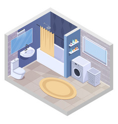 Modern bathroom isometric composition vector