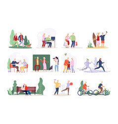 old couple active people collection happy vector image