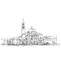 Old town sketch drawing vector image