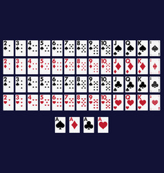 Playing cards 62x90 mm from one to ten vector