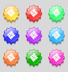 Puzzle piece icon sign symbol on nine wavy vector