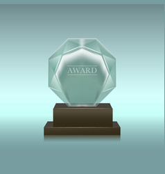 Realistic glass or crystal prize circle shape vector