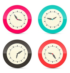 Retro Alarm Clock Set Isolated on White Background vector