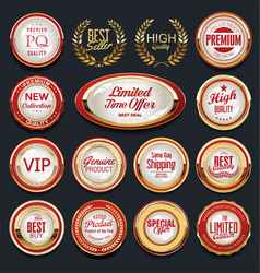retro vintage gold and red badges and labels vector image