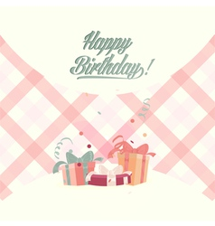 Retro vintage happy birthday card with gifts vector image