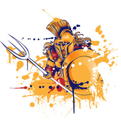 roman warrior with trident vector image