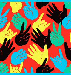 seamless pattern of colorful stylized hands vector image
