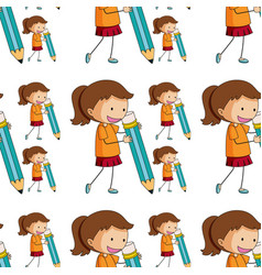 seamless pattern tile cartoon with girl holding vector image