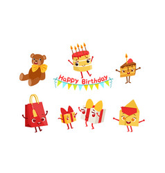 set humanized attributes for a birthday vector image