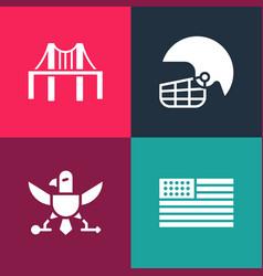Set pop art american flag eagle football helmet vector