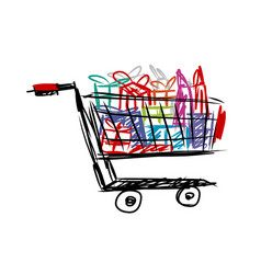 shopping cart with gift box and bag isolated on vector image