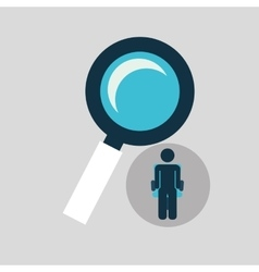 Silhouette sitting business searching icon vector