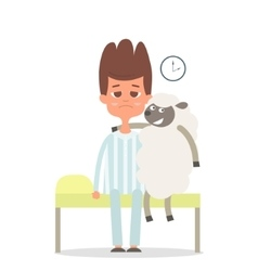 Sleepless concept with man and sheep on the bad vector image