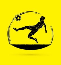 soccer player hit the ball bicycle kick vector image