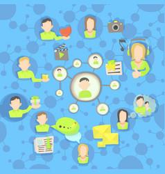 social network circles concept cartoon style vector image