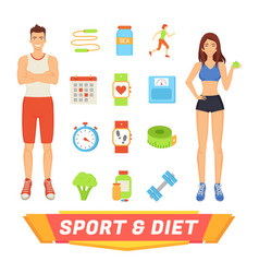 Sport and diet people icons vector