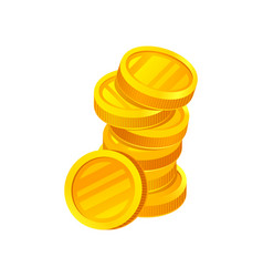 stack of shiny golden coins money and finance vector image