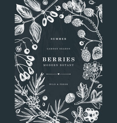 Summer berries and flowers frame on chalk board vector