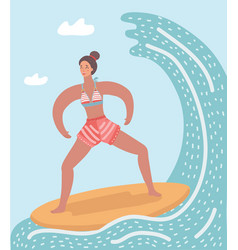 surfer woman in wave vector image