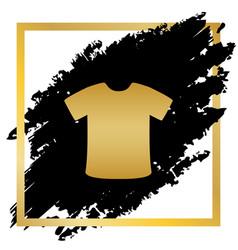 T-shirt sign golden icon at black spot vector