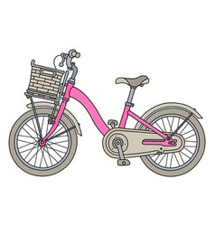 The pink bicycle for girls vector