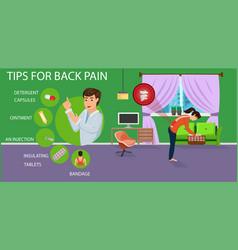 Tips for back pain for women vector